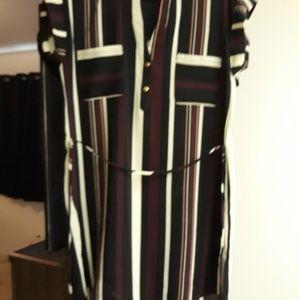 Multi stripe tunic dress with tie